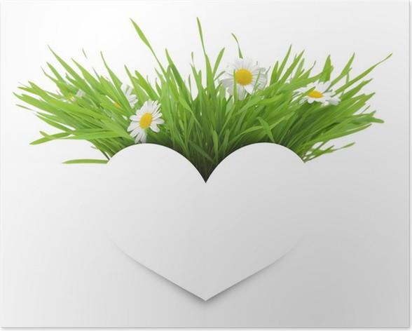Poster Papier weiß Herz mit Blumen, Gras und Kopie-Raum isoliert ...