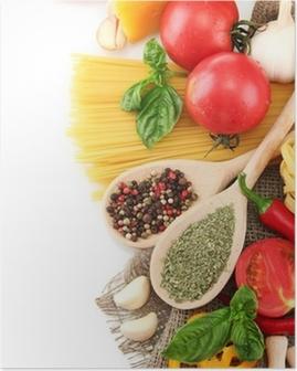 Poster Pasta Spaghetti, Gemüse und Gewürze, isoliert auf weiß