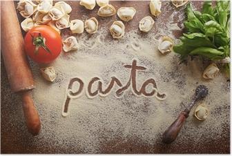 Poster Pasta Wort auf Tisch