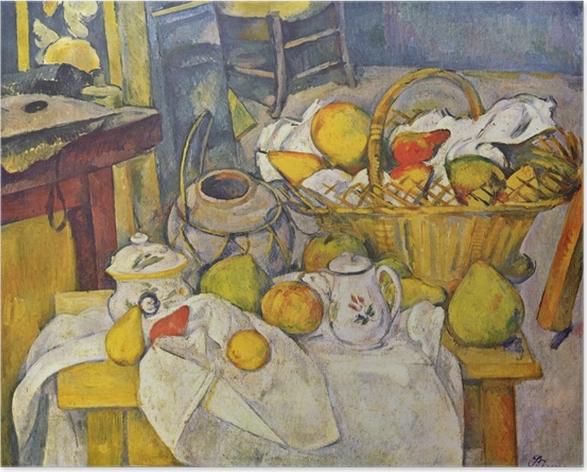 Poster Paul Cézanne - Stillleben mit Früchtekorb - Reproduktion