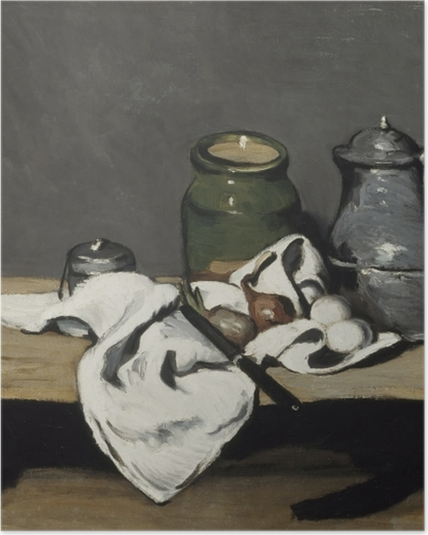 Poster Paul Cézanne - Stillleben mit grünem Gefäß und Zinnkanne - Reproduktion