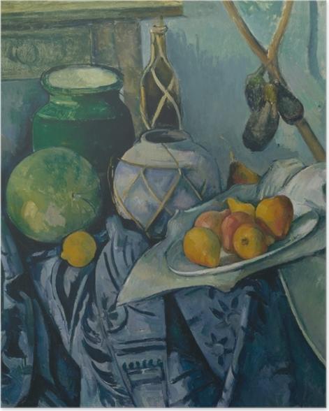 Poster Paul Cézanne - Stillleben mit Ingwertopf, Kürbis und Auberginen - Reproduktion