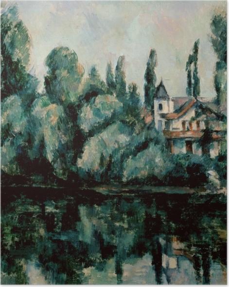 Poster Paul Cézanne - Ufer der Marne (Villa am Flussufer) - Reproduktion