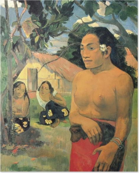 Poster Paul Gauguin - E haere oe i hia? (Wohin gehst du?) - Reproduktion