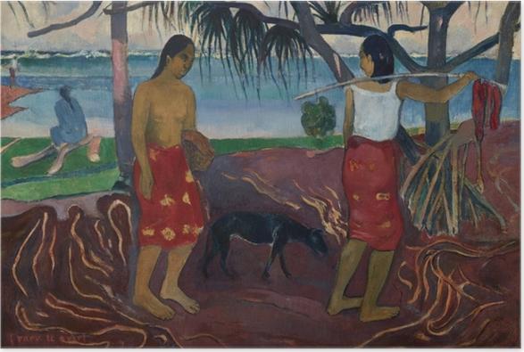 Poster Paul Gauguin - I raro te oviri (Unter dem Pandanus) - Reproduktion