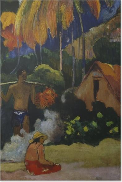 Poster Paul Gauguin - Mahana Ma'a I (Der Moment der Wahrheit) - Reproduktion