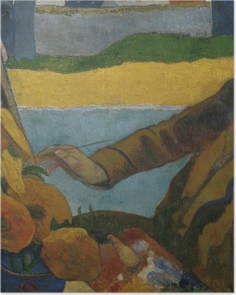 Poster Paul Gauguin - Porträt des Vincent van Gogh, Sonnenblumen malend - Reproduktion