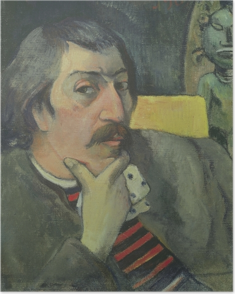 Poster Paul Gauguin - Selbstbildnis mit Idol - Reproduktion