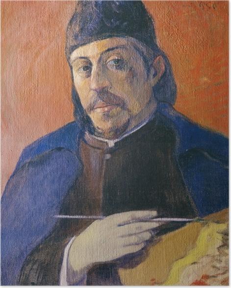 Poster Paul Gauguin - Selbstbildnis mit Palette und Pinsel - Reproduktion