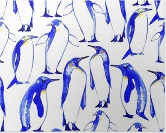 Poster Penguins nahtlose pattern.Watercolor Hand gezeichnete Illustration.
