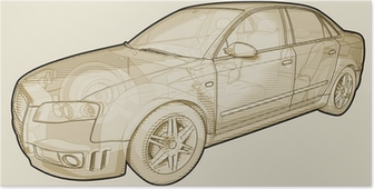 Poster Perspective skizzenhafte Darstellung eines Audi A4.