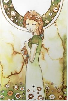 Poster Piękna dziewczyna w zielonej secesji