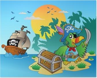 Poster Pirata pappagallo e torace sull'isola