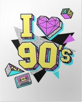 Poster Plakat im Memphis-Stil der 80er-90er.