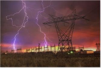 Poster Power Distribution Station mit Blitzschlag.