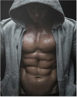 Poster Primo piano di uomo muscoloso sport dopo l'allenamento pesi