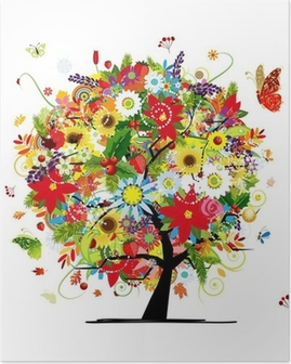 Poster Quattro stagioni concetto. Albero arte per la progettazione