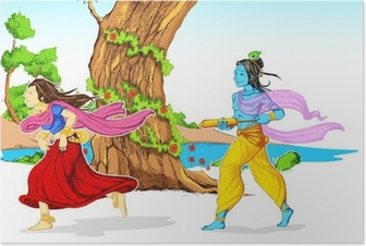 Poster Radha Krishna Playing Holi
