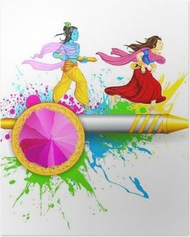 Poster Radha und Krishna Spielen Holi