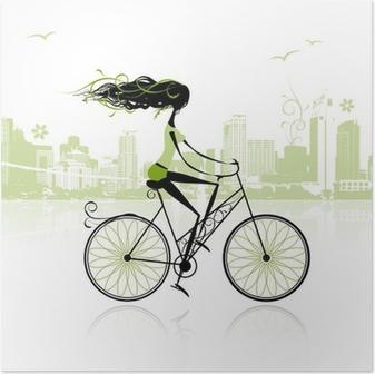 Poster Ragazza In Bicicletta In Città Pixers Viviamo Per Il