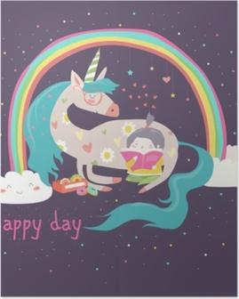 Poster Ragazza simpatico cartone animato con unicorno