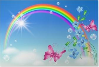 Poster Regenbogen in den Himmel