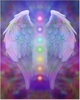Poster Reiki Angel Wings und sieben Chakren