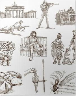 Poster Reisen Deutschland - Handzeichnungen - weiße Teil 1