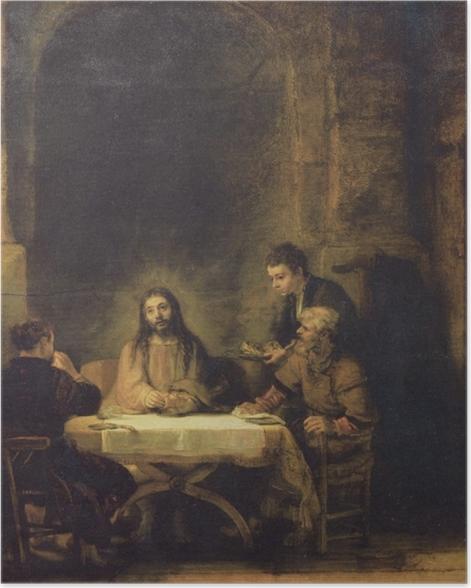 Poster Rembrandt - Christus in Emmaus - Reproduktion
