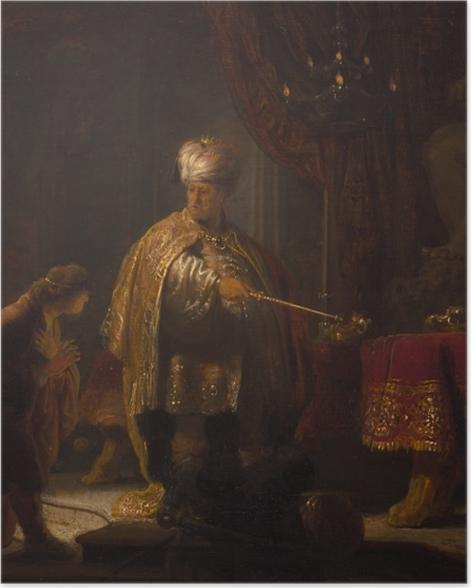 Poster Rembrandt - Daniel und Cyrus vor dem Götzenbild des Bel - Reproduktion