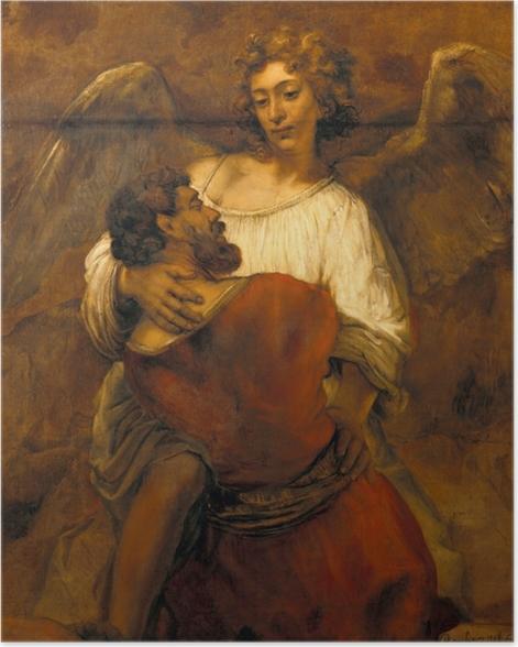Poster Rembrandt - Jakob ringt mit dem Engel - Reproduktion