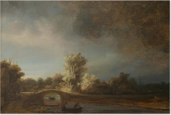 Poster Rembrandt - Landschaft mit Steinbrücke - Reproduktion