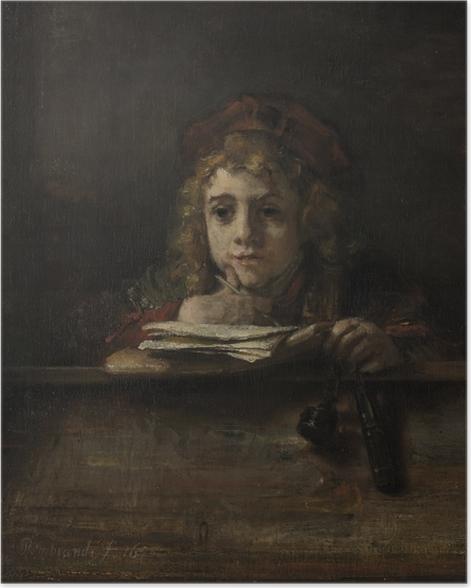 Poster Rembrandt - Porträt des Titus schreibend an einem Tisch - Reproduktion