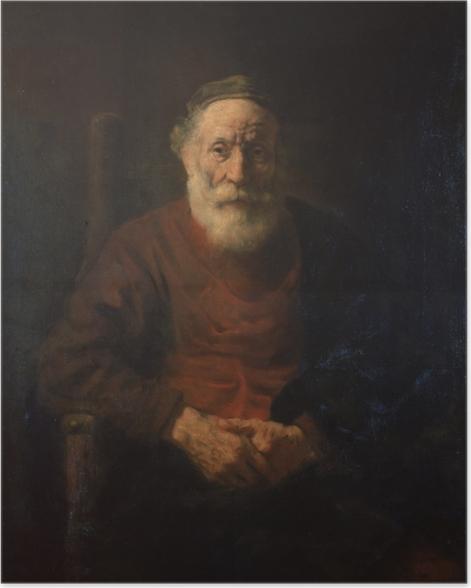 Poster Rembrandt - Porträt eines alten Mannes in Rot - Reproduktion