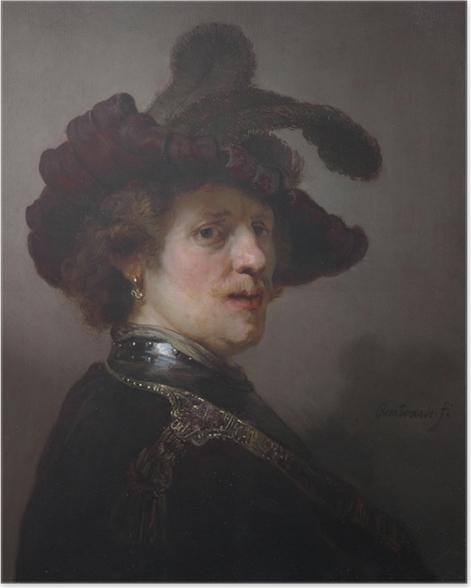 Poster Rembrandt - Selbstbildnis mit Federhut - Reproduktion