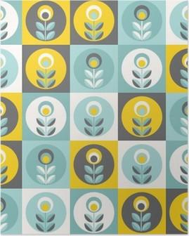 Poster Retro Blumenmuster, nahtlose Blumen geometrischen