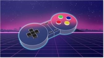 Poster Retro controller di gioco su sfondo colorato illustrazione 3d