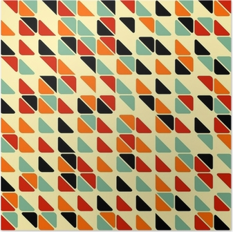 Poster Retro modello astratto senza soluzione di continuità con i triangoli