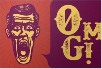 Poster Retro vintage sorpreso uomo stordito o stupito, a bocca aperta, omg!
