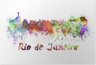 Poster Rio de Janeiro Skyline in Aquarell