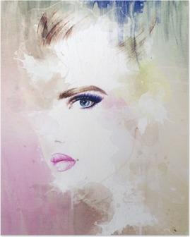 Poster Ritratto di donna. acquerello astratto. moda sfondo