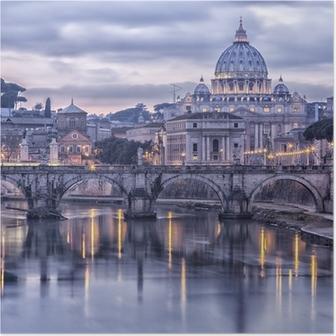 Poster Rom und dem Fluss Tiber in der Abenddämmerung
