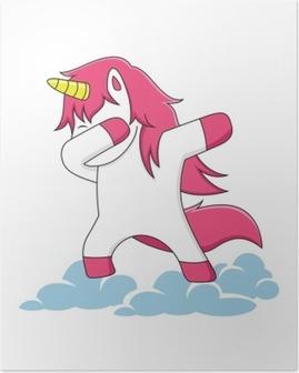 Poster Rosa Einhorn-Charaktere, die auf den Wolken synchronisieren
