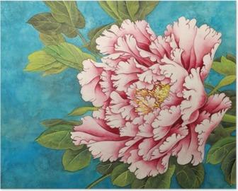 Poster Rosa Pfingstrose auf einem blauen Hintergrund