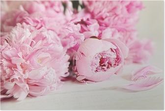 Poster Rosa Pfingstrose Blumen auf Holz Oberfläche