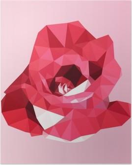 Poster Rosa rossa poligonale. poly basso triangolo geometrico fiore vettore
