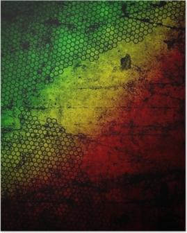 Poster Rote, gelbe, grüne rasta Flagge auf Grunge texturierte Betonwand