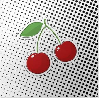 Poster Roter Kirschaufkleber auf weißem Hintergrund mit schwarzen Punkten, Pop-Art-Halbtonhintergrund, Stiften oder Flecken, Retrostil, Vektor-Illustration