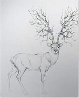 Poster Rotwild mit Geweih wie Baum / Realistische Skizze