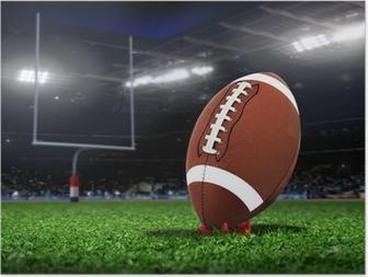 Poster Rugby Ball auf dem Rasen in einem Stadion